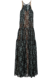 Tulle-trimmed floral-print silk-gauze gown