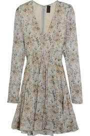 Floral-print silk-gauze dress