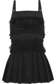 Vera Wang Ruffled wool-crepe top