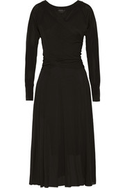 Donna Karan New York Wrap-effect jersey midi dress