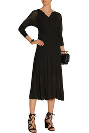 Wrap-effect jersey midi dress