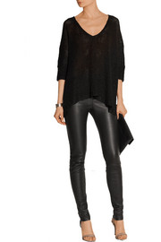 Donna Karan Open-knit linen and silk-blend sweater