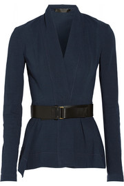 Belted stretch linen-blend jacket
