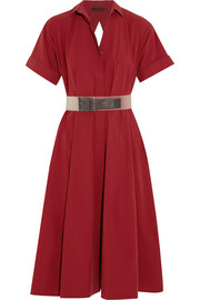 Belted cotton-poplin dress