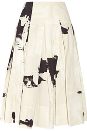 Printed cotton-faille midi skirt