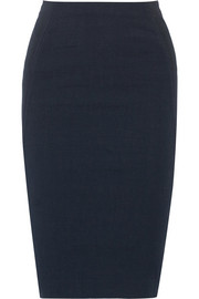 Stretch linen-blend pencil skirt