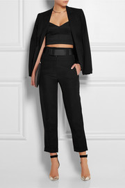 Belted ramie-blend tapered pants