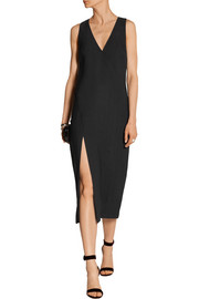 Split-front crepe midi dress