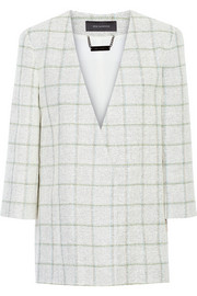 Checked linen, cotton and silk-blend tweed jacket
