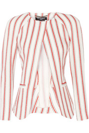 Striped linen and cotton-blend blazer