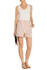 Striped linen and cotton-blend shorts