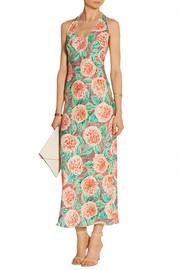 Printed silk-blend crepe maxi dress