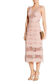 Cotton-blend brocade and mesh midi dress