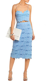 Cotton-blend brocade pencil skirt
