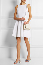 Pleated ribbed-knit mini dress