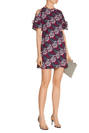 Cutout printed crepe mini dress