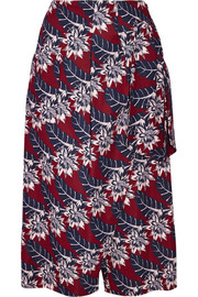 Wrap-effect printed crepe culottes