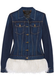 Burberry Prorsum Feather-trimmed denim jacket