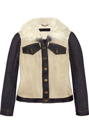 Denim-paneled shearling jacket