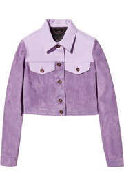 Burberry Prorsum Cropped patent leather-paneled suede jacket