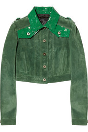 Cropped patent leather-paneled suede jacket