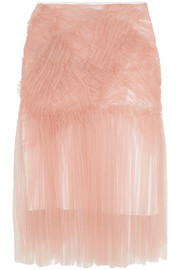 Ruched tulle midi skirt