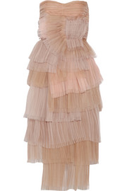 Tiered silk-organza dress