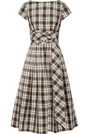 Plaid silk and cotton-blend dress