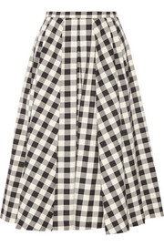 Gingham cotton midi skirt