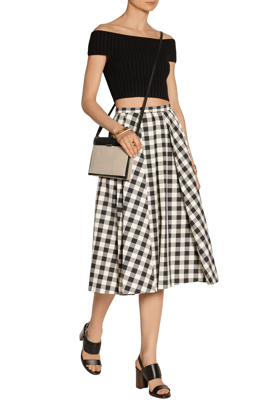 Michael Kors Collection Gingham cotton midi skirt