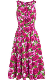 Cutout floral-print cotton-poplin midi dress
