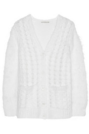 Cable-knit mohair-blend cardigan