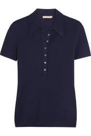 Ribbed cashmere polo shirt