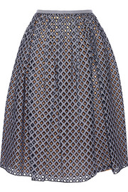 Pleated broderie anglaise midi skirt