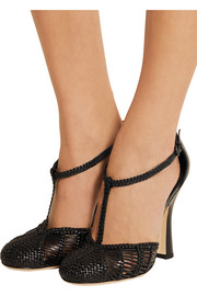 Woven leather Mary Jane pumps