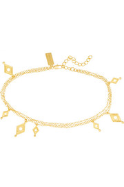 Rhomboid gold-plated ankle bracelet