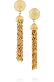 Gold-plated tassel clip earrings