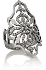 Arabesque 18-karat blackened gold diamond ring