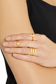 Maria Black Convertible Double gold-plated phalanx ring