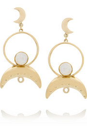 Cosmos gold-plated moonstone earrings