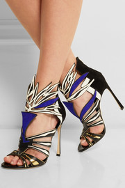 Cutout suede and leather sandals
