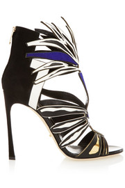 Sergio Rossi Cutout suede and leather sandals