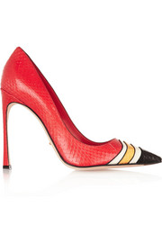 Color-block elaphe pumps