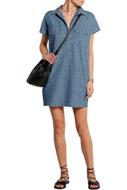 Cotton-chambray mini dress