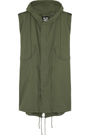 Oversized sleeveless cotton-twill parka