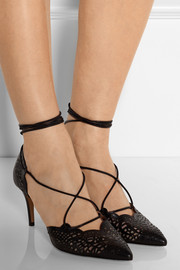 Albina laser-cut leather and mesh pumps
