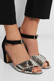 Maggie beaded mirrored-leather and suede sandals
