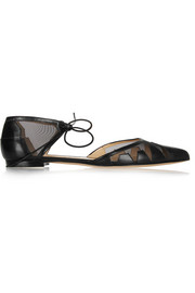 Denni leather and mesh point-toe flats