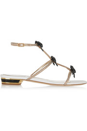 René Caovilla Crystal-embellished metallic leather sandals