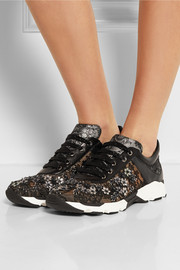 Embellished lace-covered leather sneakers